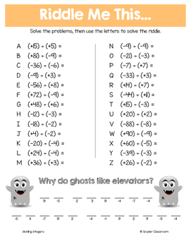 Halloween Math Middle School Math Riddles By Snyder Classroom Tpt