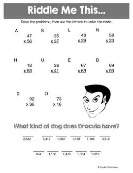 Halloween Multiplication Math Riddles