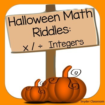 Halloween Multiplying and Dividing Integers Math Riddles