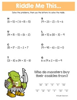 Halloween Order of Operations Math Riddles