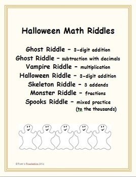 Halloween Math Riddles - work out math problems and solve riddles