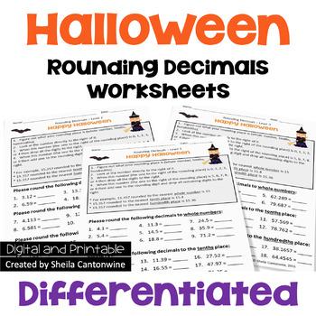 Halloween Rounding Decimals Worksheets (3 Levels)