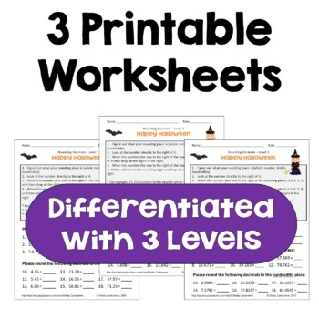 Halloween Rounding Decimals Worksheets (Differentiated with 3 Levels)