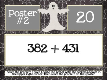 Halloween Math Scavenger Hunt FREEBIE for 3.NBT.1, 3.OA.1, 3.OA.7 and 2.NBT.7