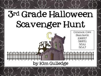 Halloween Math Scavenger Hunt FREEBIE for 3.NBT.1, 3.OA.1,