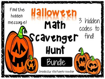 Halloween Math Scavenger Hunt Task Card bundle