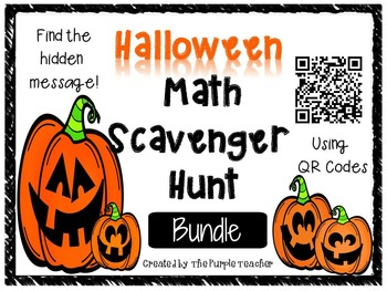 Halloween Math Scavenger Hunt Task Card with QR code bundle