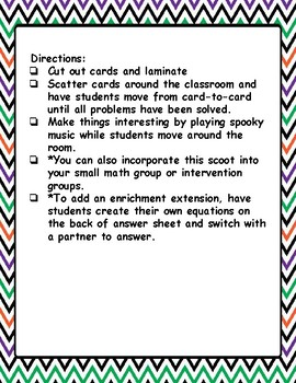 Halloween Math Scoot- REWRITE 2-Digit Addition and Subtraction