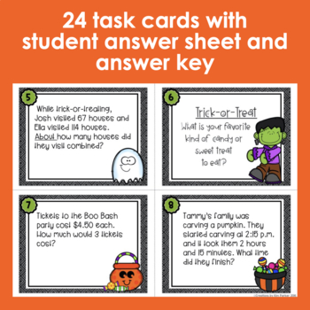 Halloween Math Scoot Task Cards and BONUS Printables Third Grade