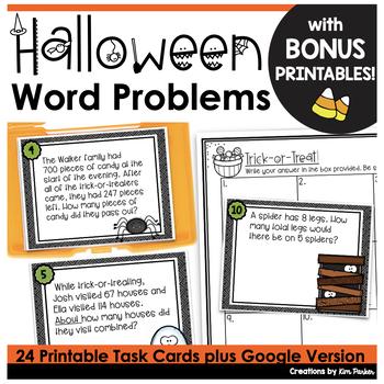 Halloween Math Scoot Task Cards and BONUS Printables Third Grade