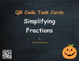 Halloween Math: Simplifying Fractions QR Code Task Cards