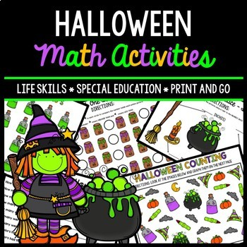 Halloween Math - Special Education - Life Skills - Print and Go Worksheets