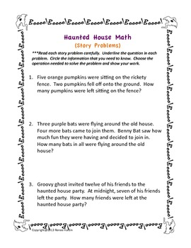 Halloween Math Story Problems