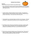 Halloween Math Story Problems - Mixed Applications