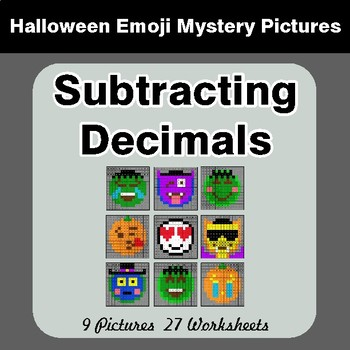 Halloween Math: Subtracting Decimals - Color-By-Number Math Mystery Pictures