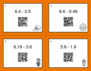Halloween Math: Subtracting Decimals QR Code Task Cards