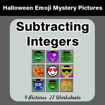 Halloween Math: Subtracting Integers - Color-By-Number Math Mystery Pictures