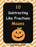 Halloween Math: Subtracting Like Fractions Maze