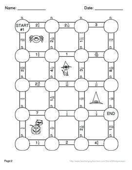 Halloween Math: Subtracting Mixed Fractions Maze