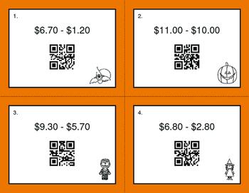 Halloween Math: Subtracting Money QR Code Task Cards
