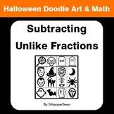 Halloween Math: Subtracting Unlike Fractions - Doodle Art & Math