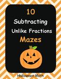 Halloween Math: Subtracting Unlike Fractions Maze