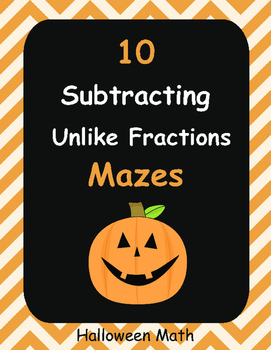 Halloween Math: Subtracting Unlike Fractions Maze