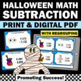 Halloween Math Centers, 4 Digit Subtraction with Regrouping Task Cards, 4th 5th