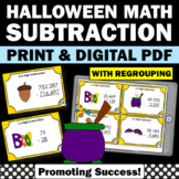 Halloween Math Activities with Multidigit Subtraction with Regrouping Task Cards
