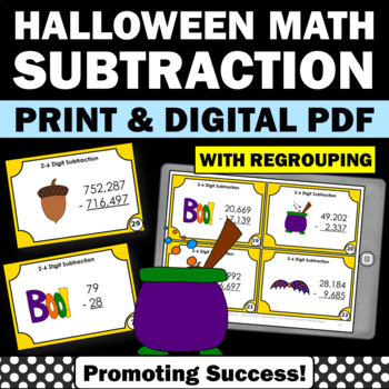 Halloween Math Activities & Games 4th 5th Grade Subtractio