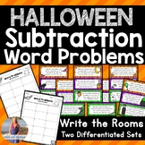 Halloween Math: Subtraction Word Problems Write the Room [[Differentiated]]