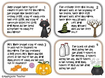 Halloween Math Task Cards 4th and 5th Grade Bundle - Addition and Subtraction