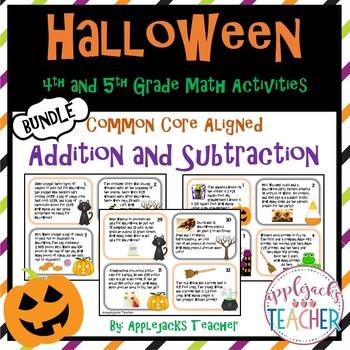 Halloween Math Task Cards 4th and 5th Grade Bundle - Addit