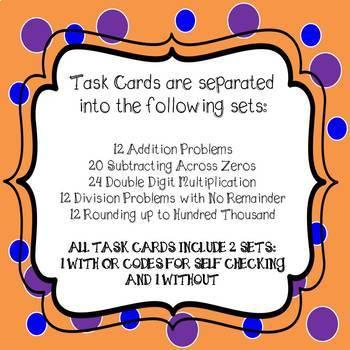 Halloween Math Task Cards *Bundle* 4th Grade Common Core Aligned