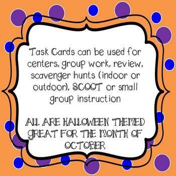 Halloween Math Task Cards 4th Grade Common Core Aligned Bundle