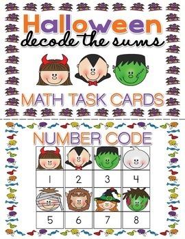 Halloween Math Task Cards Decode the Sums