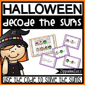 Halloween Math Task Cards - Decode the Sums - NO PREP - PR