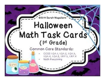 Halloween Math Task Cards (First Grade)