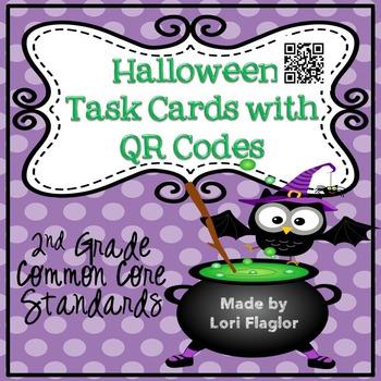 Halloween Math Task Cards & QR Codes