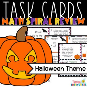 Halloween Math Task Cards - SCOOT - 3rd 4th Grade TEKS CCSS