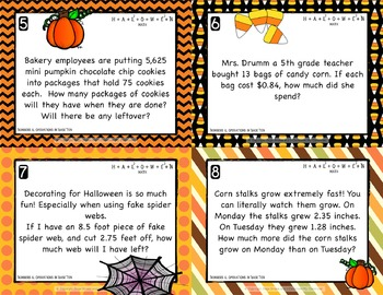 Halloween Math Task Cards for Upper Elementary - Perfect for Math Review