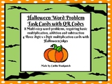 Halloween Multi-Step Math Problem Task Cards with QR codes