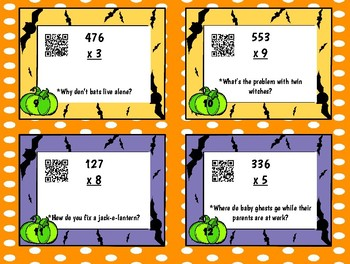 Halloween Multi-Step Multiplication Fact Problem Task Cards with QR codes