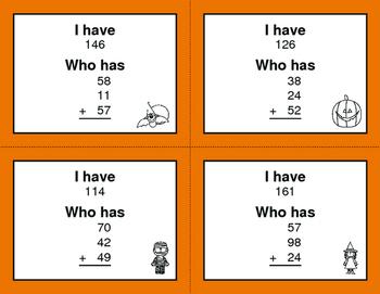 Halloween Math: Three 2-Digit Addition - I Have, Who Has