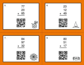 Halloween Math: Three 2-Digit Addition QR Code Task Cards