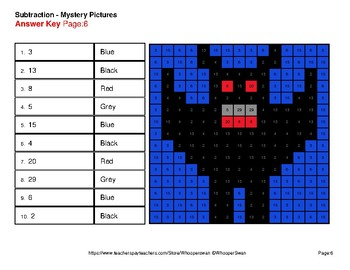 Halloween Math: Three 2-Digit SUBTRACTION - Color-By-Number Mystery Pictures