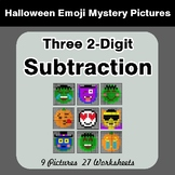 Halloween Math: Three 2-Digit SUBTRACTION - Color-By-Numbe