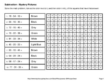 Halloween Math: Three 2-Digit SUBTRACTION Color-By-Number Math Mystery Pictures