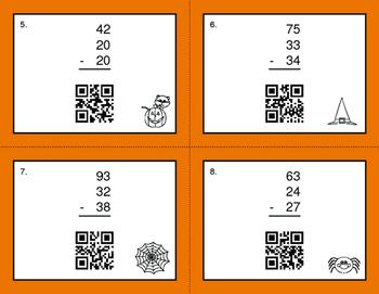 Halloween Math: Three 2-Digit Subtraction QR Code Task Cards