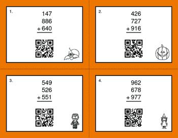 Halloween Math: Three 3-Digit Addition QR Code Task Cards